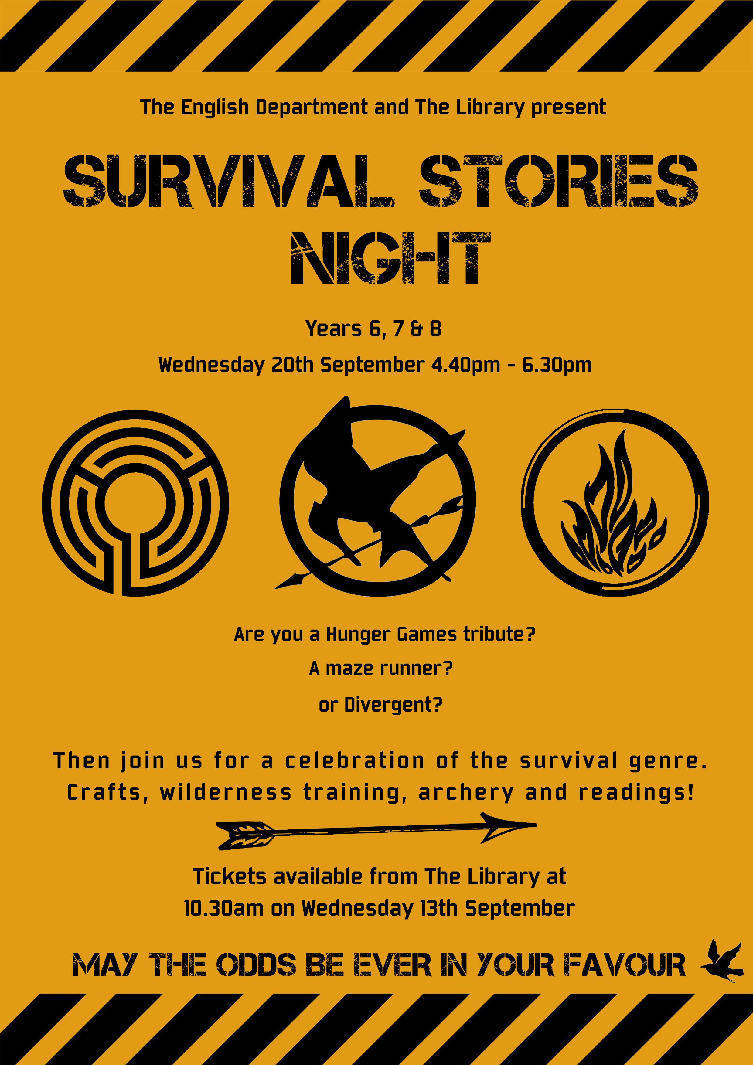 Survival Stories Night for Years 6, 7 & 8